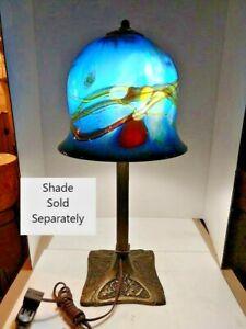 VINTAGE ART DECO ART NOUVEAU ARTS & CRAFT fluide fleuri lampe 1900-1940 abat-jour en option