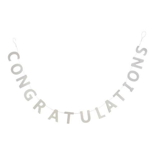 Félicitations Argent Bois Garland décoration mariage anniversaire Bruant