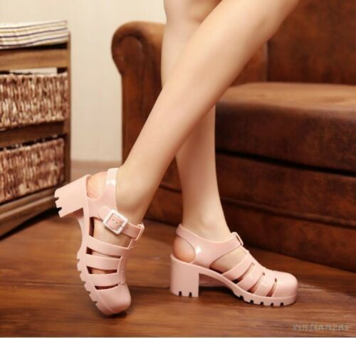 Womens Kitten Heels Buckle Cut Out Sandals Beach Korean Shoes Roman Jelly Shoes