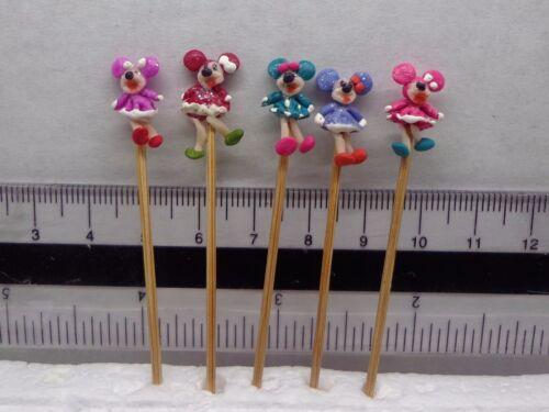 x 5 en un palo Casa de Muñecas en Miniatura de Juguete de Vivero 1:12 Hecho a Mano Mickey