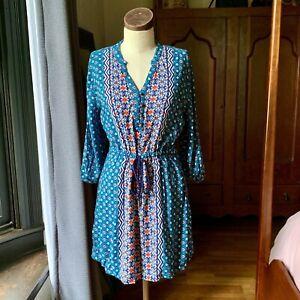 RED CAMEL Boho Cover Up Dress Rayon MEDIUM