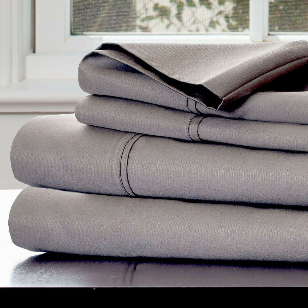 King Größe Bed Sheet Set Fitted Flat 4 Piece Platinum 1000 Count Cotton Sateen