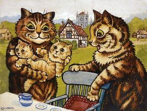 5 Charming Cats    by Louis Wain   Paper Print Reproduction