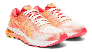 Details zu Asics GEL NIMBUS 21 Women Farbe: WHITESUN CORAL Laufschuhe neue Farbe!!