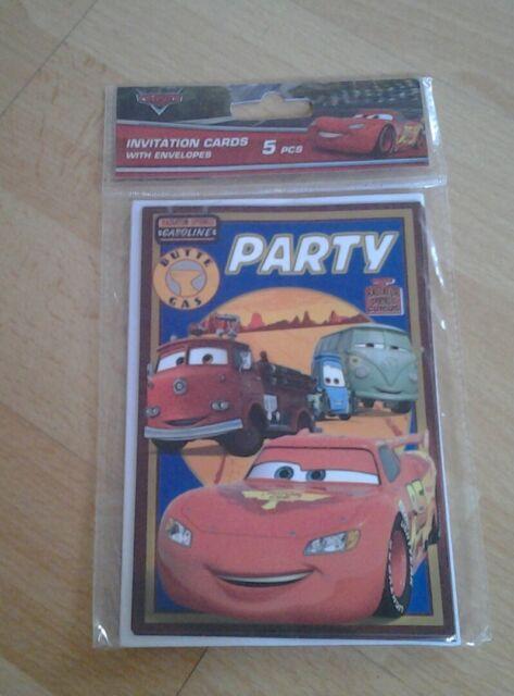 Disney Cars *5 Einladungskarten + Umschlag*Geburtstag * Party*Neu*OVP