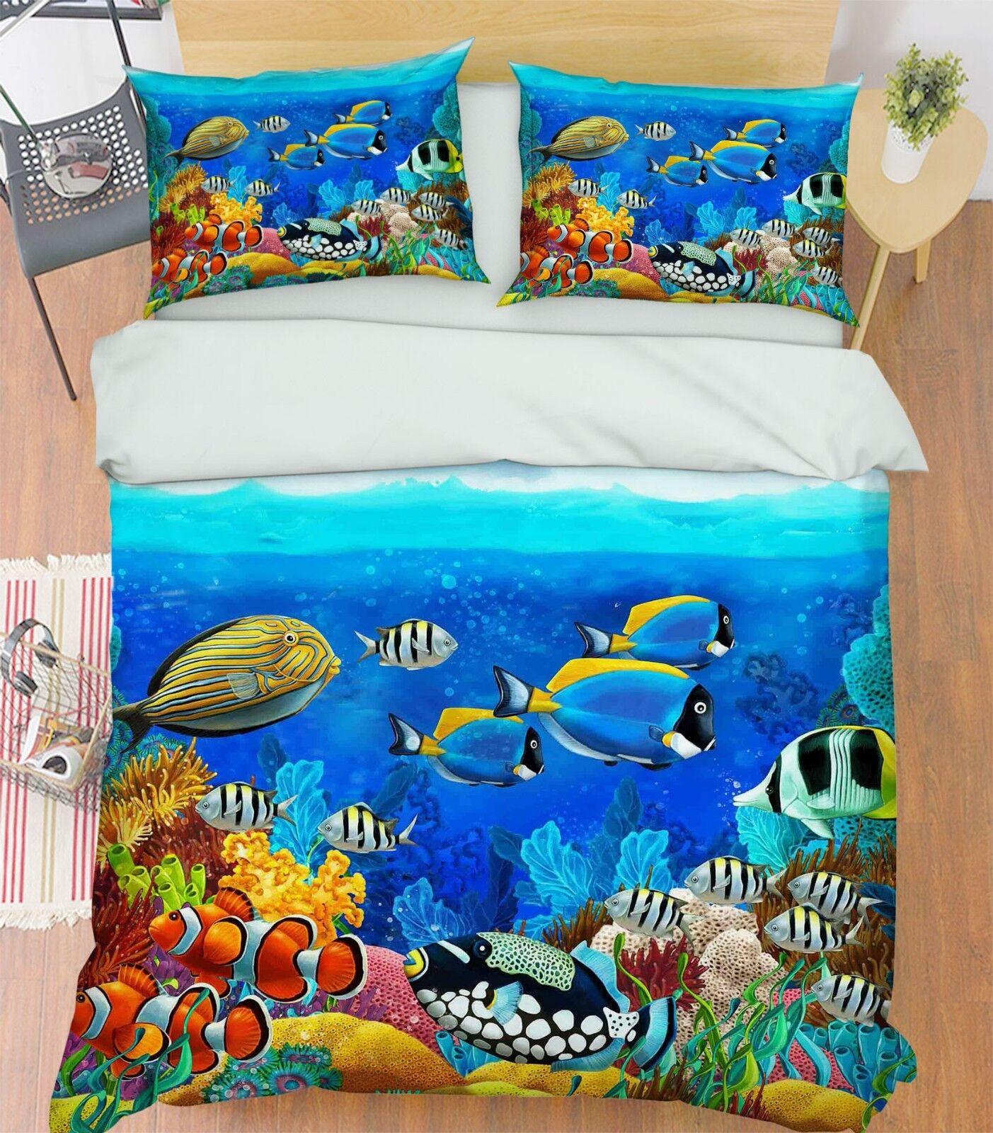 3D Ocean Fish 797 Bed Pillowcases Quilt Duvet Cover Set Single Queen King CA