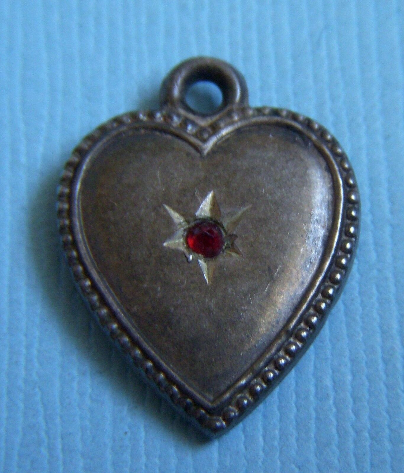Vintage Victorian red stone puffy heart sterling charm