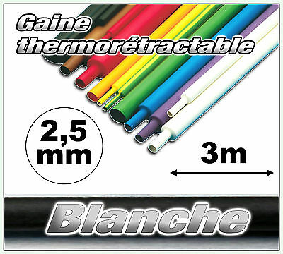 GW2.5-3# gaine thermorétractable blanche 2,5mm 3m ratio 2//1  gaine thermo