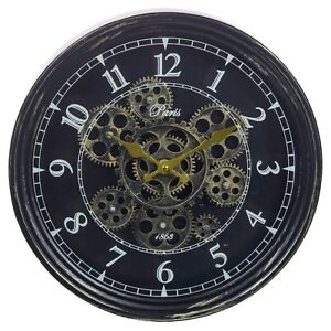Large Wall Clock Rotating Gears Cogs Metal Novelty Antique