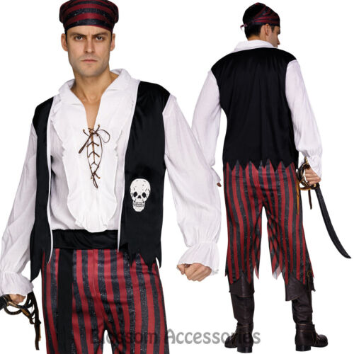 CL781 Pirate Man Swashbuckler Carribean Buccaneer Halloween Fancy Dress Costume