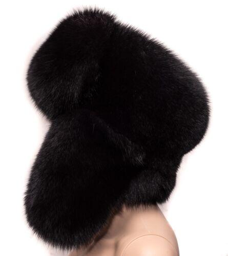 Genuine Black Velvet Fox Fur Handmade Men/'s Winter Cap Trapper Ushanka Hat
