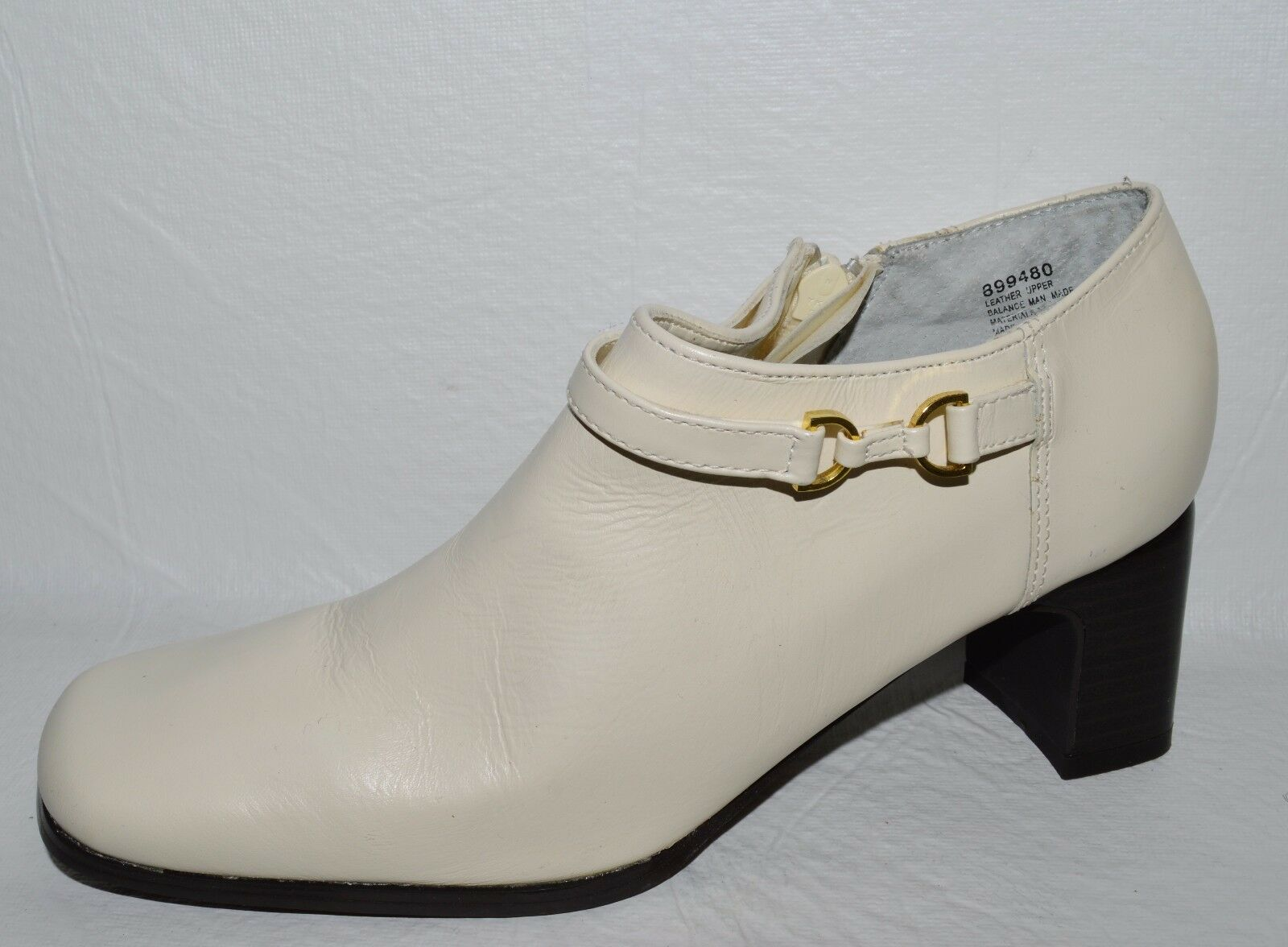 AJ VALENCI NEW SZ 5.5 M WHITE LEATHER BOOTIES LOAFER PUMPS HEELS SHOES BOOTIES LEATHER ba3c4f