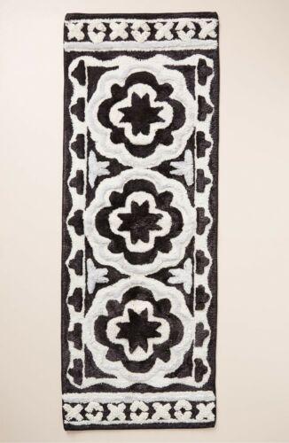 Anthropologie Home Janina Delilah Runner Bathmat NWT New Black White Bathroom