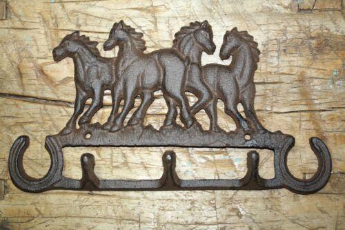 Cast Iron 4 HORSETowel Key Rack RUSTIC Garden HORSE SHOES Coat Hooks Hat Hook