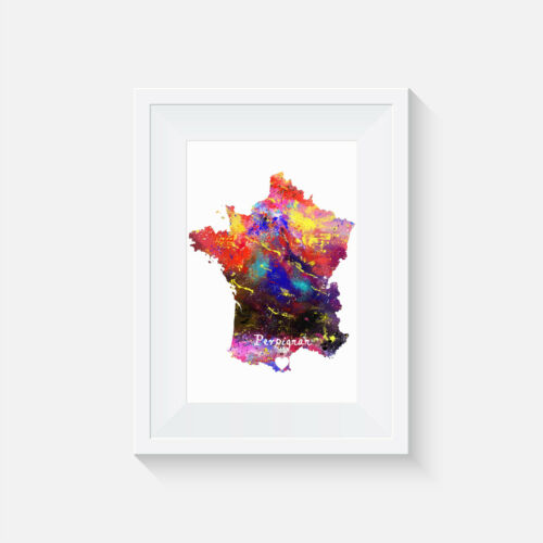 gift Perpignan France picture print watercolour wall art poster