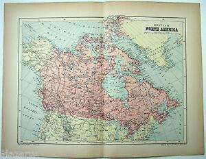 Original-1895-Map-of-British-North-America-by-W-amp-A-K-Johnston-Antique