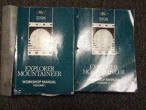 1998 ford explorer mercury mountaineer shop manual set service.