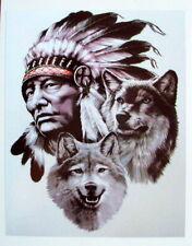 Indio Y Lobos Color pegatina de vinilo, Para El Coche, Pared, Laptop, Ipad (13 X 16cms)