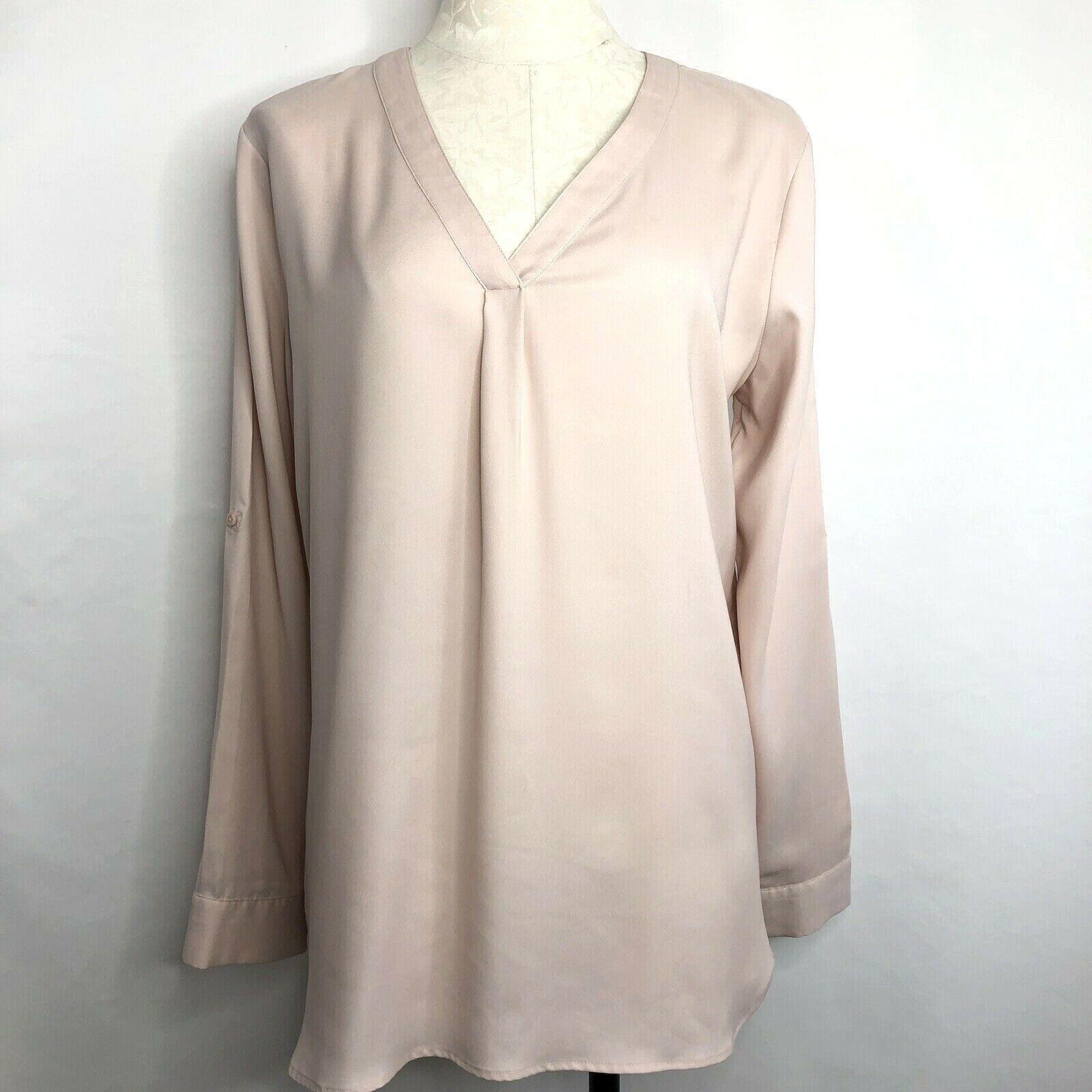 Ann Taylor Women's Tunic Long Sleeve Semi-Sheer Sz M Dusty pink