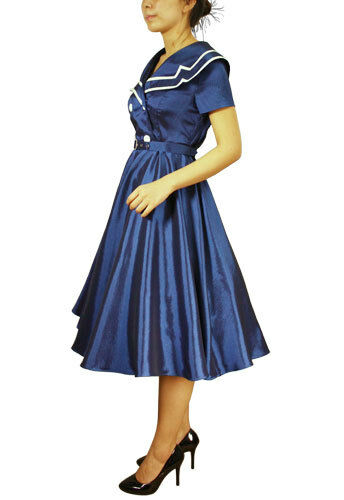 nero Sailor 50's Swing Svasato Festa Rockabilly Retrò Vintage dress n. 23