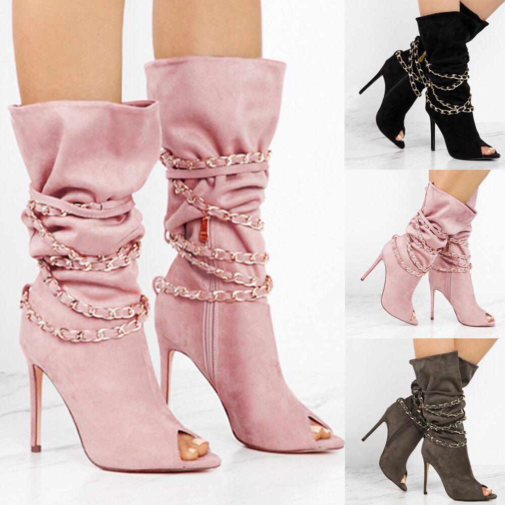 Women Zipper Fish Mouth High Boots Over The Knee Boots High Heels Martin shoes