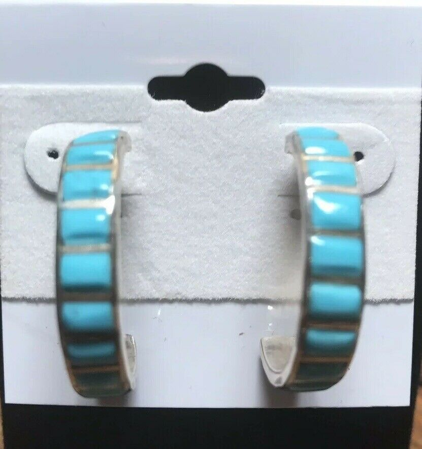 Chaco Canyon Southwest Zuni Sleeping Beauty Turquoise Inlay Hoop Earrings NWT