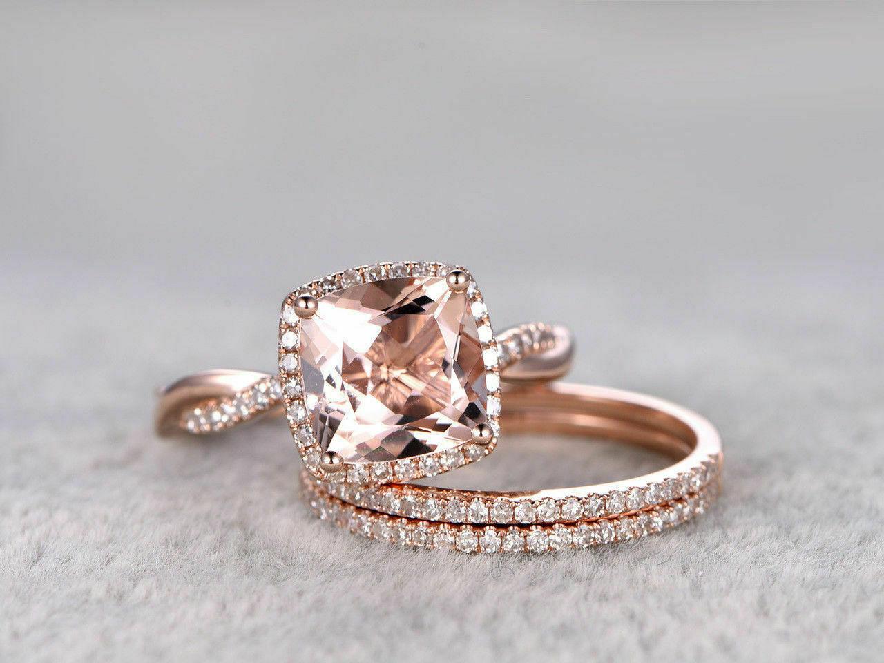 3Ct Cushion Gorgeous Cut Morganite Trio Set Engagement Ring 14K pink gold Finish
