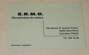 Ancienne Carte De Visite S R M D Recuperation Metaux