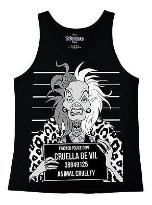 Twisted Punk Disney Cruella Mugshot Ladies Vest Top tattoo gothic skull witch