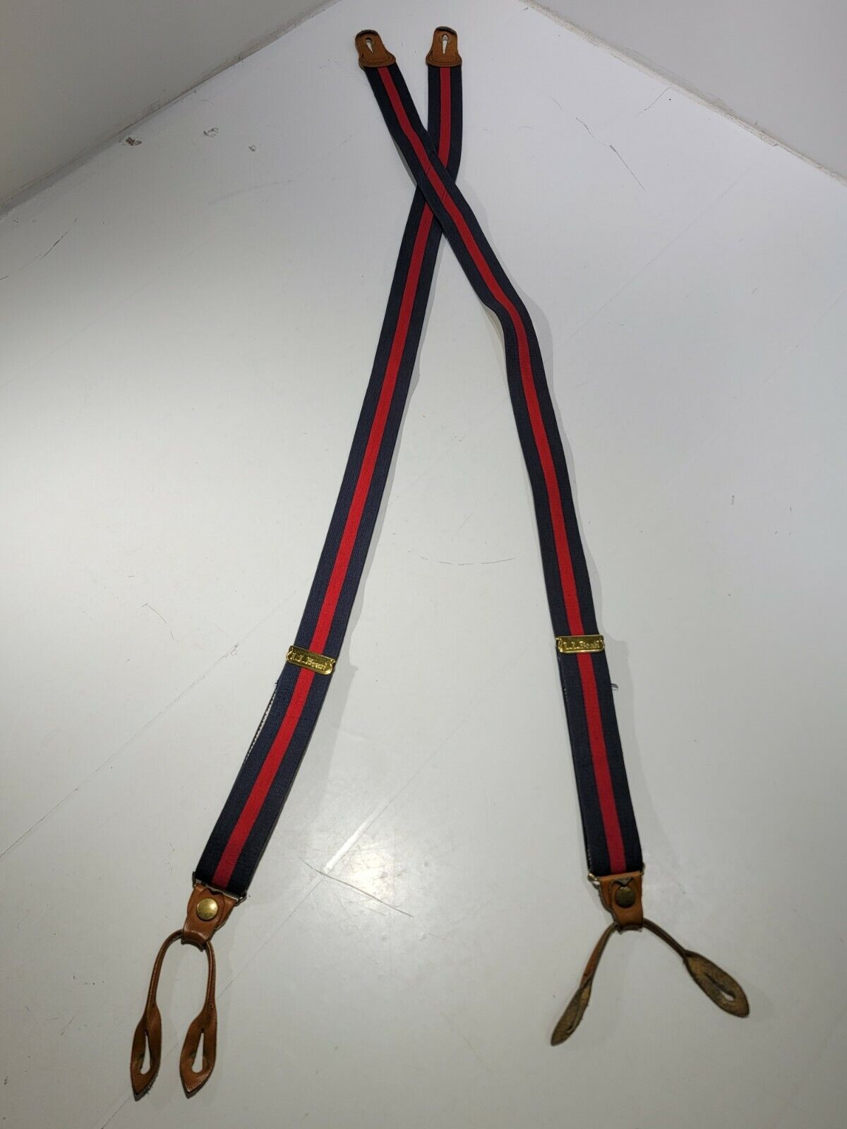 LL Bean Long Red Blue Elastic Leather Suspenders Button Fastening Brass Logo