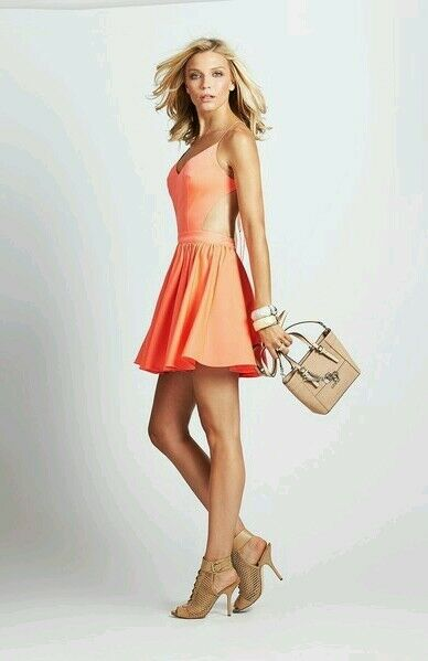 Guess Strappy Open-Back Fit-And-Flare Rosa Orange Dress Large