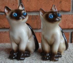 Matched-Pair-of-Vintage-SIAMESE-Kitten-Cat-FIGURE-Korea-6-034-Beautiful-Blue-Eyes