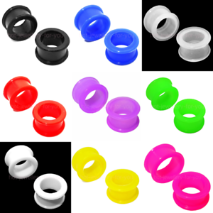 Flexible-Flesh-Tunnel-Ear-Plug-Stretcher-Silicone-Soft-10-Colours-4mm-to-30mm
