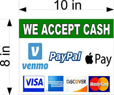 8 X 10 Vinyl Decal We Accept Venmo Apple Pay Paypal Visa Amex Mc Payments