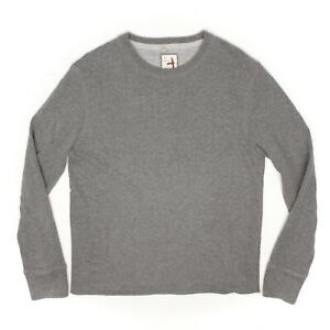 Relwen-Mens-Sweatshirt-L-Heather-Gray-Crew-Neck-Classic-Cotton-Thermal-Lining
