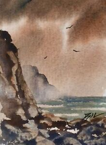 Original-Miniature-Painting-Large-Rocks-by-Bill-Lupton-ACEO