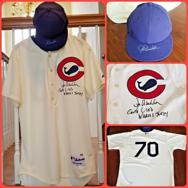 2015 Signed Joe Maddon Game Used Whales Throwback Jersey   Hat Chicago Cubs  2016 4e5dfc8d0a1