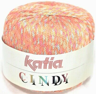 1 Ball Katia Cindy Shiny Woven Ribbon Yarn Col 12 Peachtree Matige Prijs