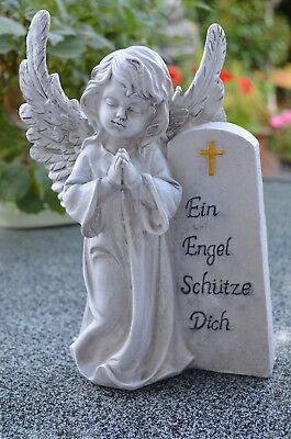 Grabengel Engel Schutzengel Grabschmuck Deko  Trauer Engelfigur steingrau NEU
