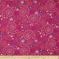Katmandu Swirls By Riverwoods-magenta, Orange, Cream, Green, Purple (cotton) Bty