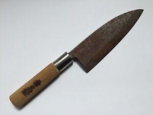 Japanese Kitchen Knife Deba Vintage Signed KANETAKA Wooden Handle Fish O238