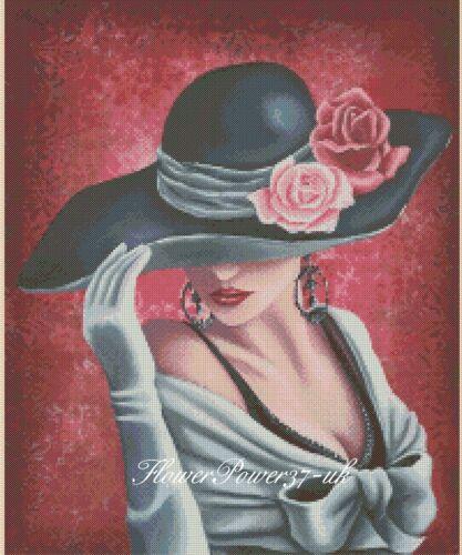 Cross stitch chart Elegante Lady N 192 Flowerpower 37-uk GRATIS UK P /& P