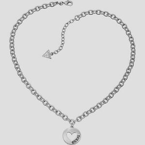 GUESS Schmuckstücke Stahl Halskette Und Anhänger Runde mit Herz (UBN51430) Neu