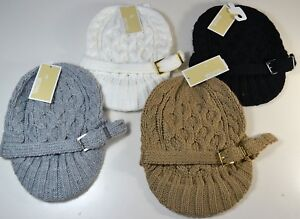 eaebec39314 NWT MICHAEL KORS CABLE KNIT BRIM MK BEANIE HAT 4 COLORS ONE SIZE