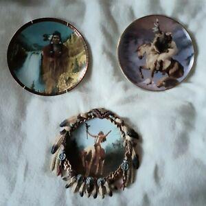 Three-American-Indian-decorative-plates