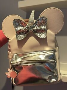 Details About Bnwt Disney Primark Minnie Mouse Backpack Bag Unicorn Baby Pink And Silver Bow