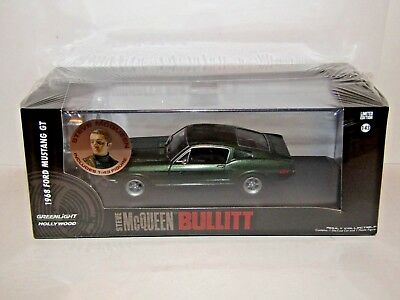 GREENLIGHT 86433 BULLITT 1968 FORD MUSTANG 1//43 with STEVE MCQUEEN FIGURE GREEN