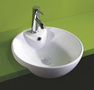 44cm Diameter Semi Recessed Circular Round Ceramic White Bathroom Inset Basin