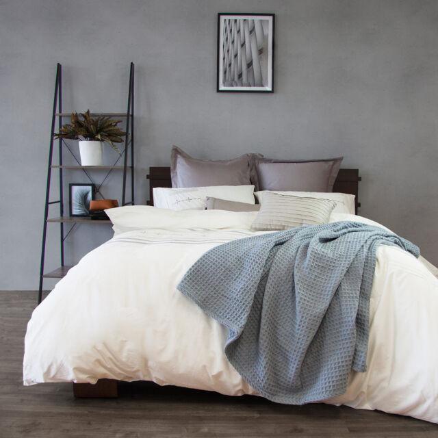 Ardor 100% Cotton Waffle Blanket Lightweight Blue Queen/King Size RRP $169.95