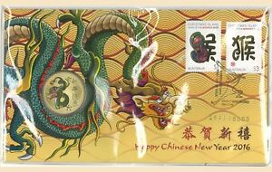 Australia-2016-Chinese-New-Year-of-Monkey-PNC-Stamp-amp-1-UNC-Dragon-Coin-Cover